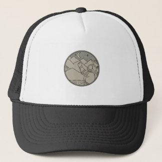 Astronaut Moon Stars Circle Mono Line Trucker Hat
