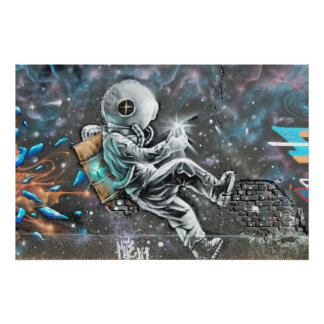 Astronaut Mural in Astoria Queens New York Poster