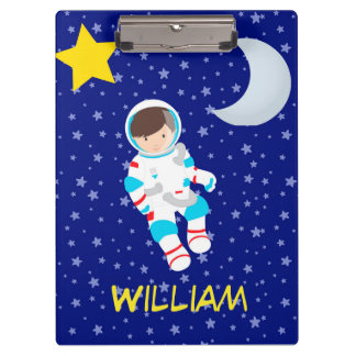 Astronaut Night Sky Moon Star Clipboard
