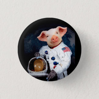 Astronaut pig - space astronaut 1 inch round button