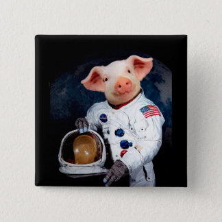 Astronaut pig - space astronaut 2 inch square button