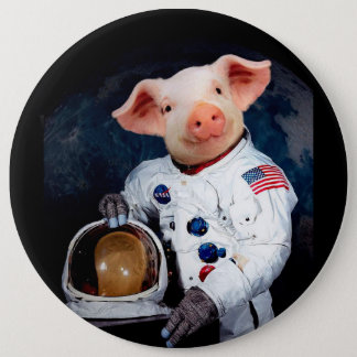 Astronaut pig - space astronaut 6 inch round button