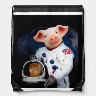 Astronaut pig - space astronaut drawstring bag