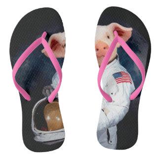 Astronaut pig - space astronaut flip flops