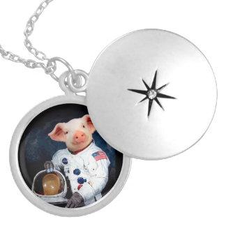 Astronaut pig - space astronaut locket necklace
