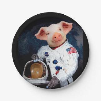 Astronaut pig - space astronaut paper plate
