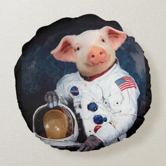 Astronaut pig - space astronaut round pillow