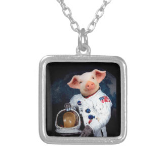 Astronaut pig - space astronaut silver plated necklace