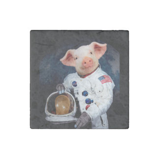 Astronaut pig - space astronaut stone magnets