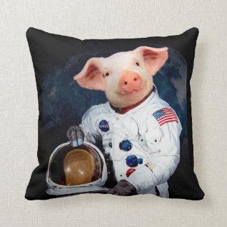 Astronaut pig - space astronaut throw pillow