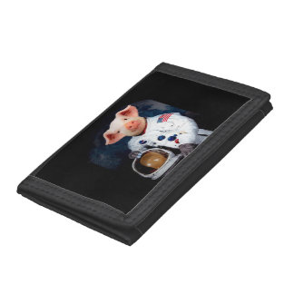 Astronaut pig - space astronaut tri-fold wallet