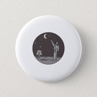 Astronaut Pointing Stars Moon Shuttle Mono Line 2 Inch Round Button