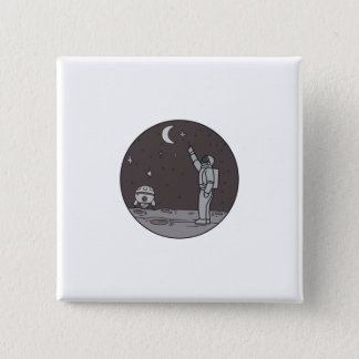 Astronaut Pointing Stars Moon Shuttle Mono Line 2 Inch Square Button