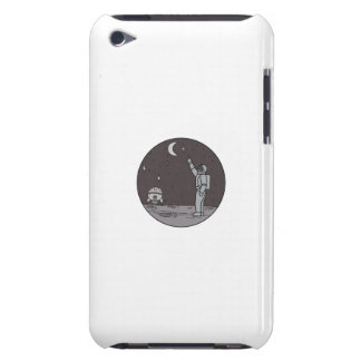 Astronaut Pointing Stars Moon Shuttle Mono Line iPod Touch Cover