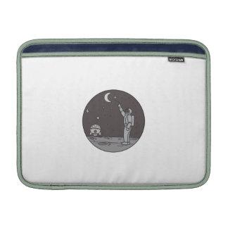 Astronaut Pointing Stars Moon Shuttle Mono Line MacBook Sleeves