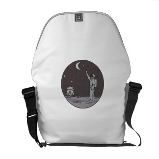 Astronaut Pointing Stars Moon Shuttle Mono Line Messenger Bag