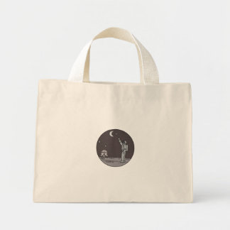 Astronaut Pointing Stars Moon Shuttle Mono Line Mini Tote Bag