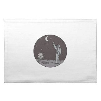 Astronaut Pointing Stars Moon Shuttle Mono Line Placemat