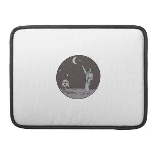 Astronaut Pointing Stars Moon Shuttle Mono Line Sleeve For MacBook Pro