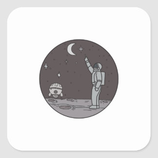 Astronaut Pointing Stars Moon Shuttle Mono Line Square Sticker