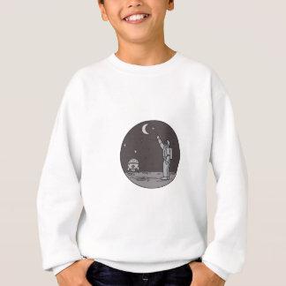 Astronaut Pointing Stars Moon Shuttle Mono Line Sweatshirt