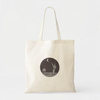 Astronaut Pointing Stars Moon Shuttle Mono Line Tote Bag