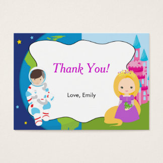 Astronaut Princess Kids Thank You Tag Label