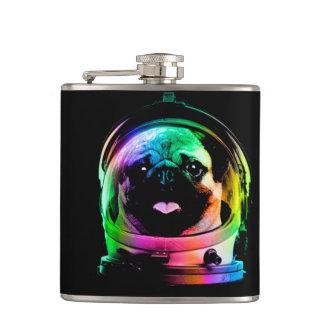 Astronaut pug - galaxy pug - pug space - pug art hip flask