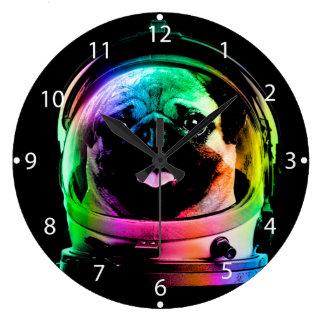 Astronaut pug - galaxy pug - pug space - pug art large clock