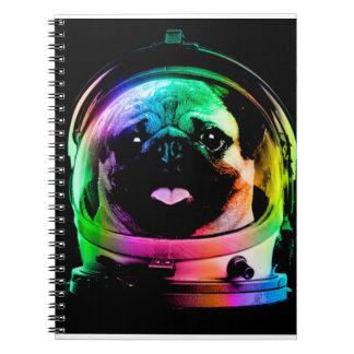 Astronaut pug - galaxy pug - pug space - pug art spiral notebook