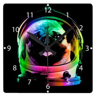 Astronaut pug - galaxy pug - pug space - pug art square wall clock