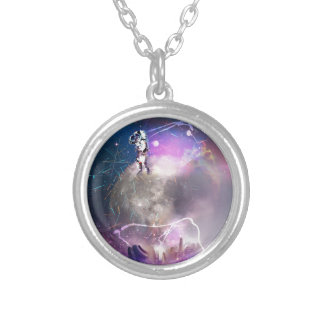 Astronaut Riding Super Nova Silver Plated Necklace