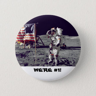 Astronaut saluting the American flag 2 Inch Round Button