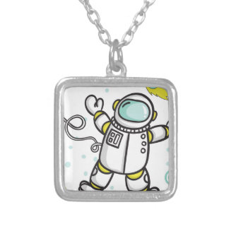 Astronaut Silver Plated Necklace