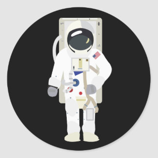 Astronaut (Simple History) Round Sticker