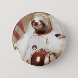 astronaut sloth 2 inch round button