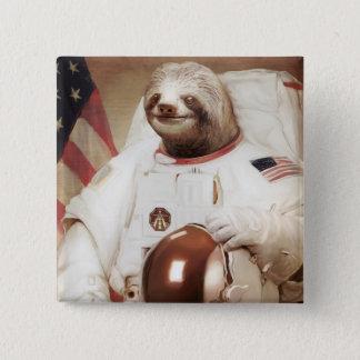 Astronaut Sloth 2 Inch Square Button