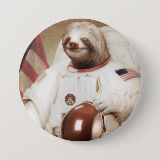 Astronaut Sloth Round Button