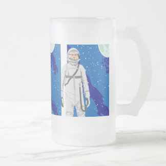 astronaut space background frosted glass beer mug