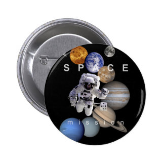 astronaut space mission solar system planets 2 inch round button