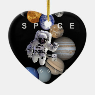 astronaut space mission solar system planets ceramic ornament