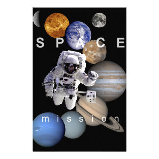 astronaut space mission solar system planets stationery