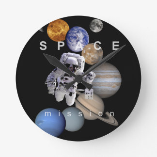 astronaut space mission solar system planets wall clocks
