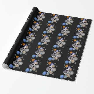 astronaut space mission solar system planets wrapping paper