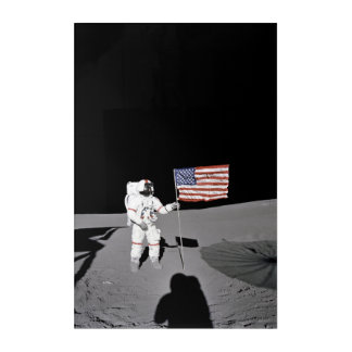 Astronaut stands by the U.S. flag on Moon Acrylic Wall Art