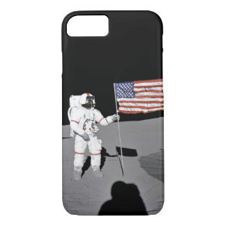 Astronaut stands by the U.S. flag on Moon iPhone 8/7 Case