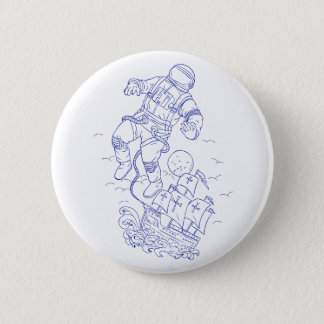 Astronaut Tethered Caravel Ship Drawing 2 Inch Round Button