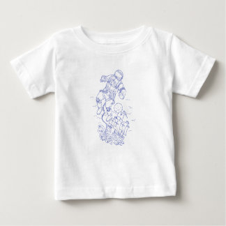 Astronaut Tethered Caravel Ship Drawing Baby T-Shirt