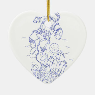 Astronaut Tethered Caravel Ship Drawing Ceramic Ornament