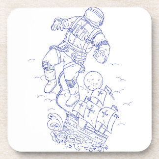 Astronaut Tethered Caravel Ship Drawing Coaster